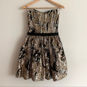 Guess Black/ Gold/ Silver Sequin Strapless Dress